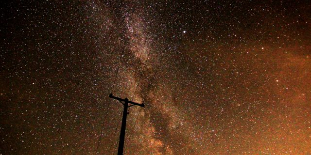 The Milky Way behind a hydro pole