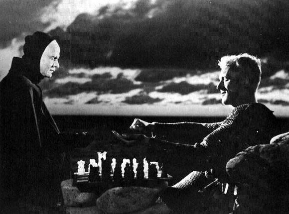 "Bengt Ekerot and Max von Sydow in Ingmar Bergman's ""The Seventh Seal"""